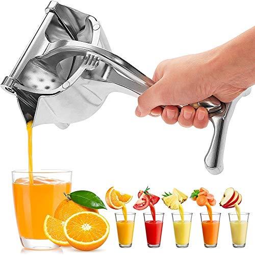 Zhiwei Espremedor de frutas manual com copo medidor de aço inoxidável para sucos de frutas com caixa de platina e centrífuga fácil de espremer frutas frescas, espremedor de suco de frutas portátil para uma centrífuga saudável DIY