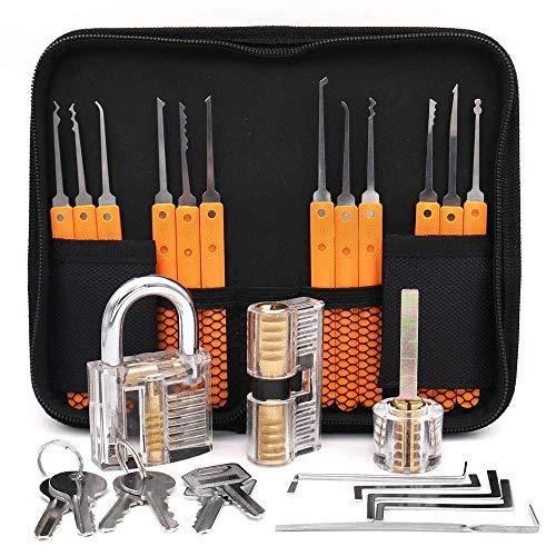 Loboo Idea 17-teiliges Lock-Pick-Trainingsset mit 3 transparenten Trainingsschlössern für Anfänger und professionelle Schlosser