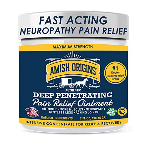 Amish Origins Deep Penetrating Pain Relief Ointment 7 oz - Medicated Pain Relief Cream, Quick Acting Pain Relief Formula, Perfect for Aching Joints, Arthritis, Restless Legs, Sore Muscles