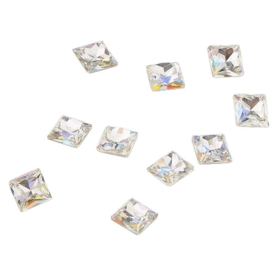 ビスケット統計的カフェPerfeclan 10個 3D ネイルチャーム ネイルアート ブリングラス ダイヤモンド ヒント デコレーション ビューティ ネイルチャーム 5タイプ選べ - スクエア