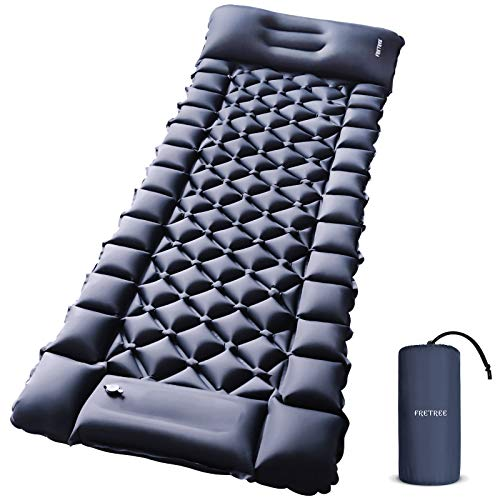 FRETREE Camping Air Sleeping Pad Mat - Foot Press Inflatable Lightweight Backpacking Pad for Hiking Traveling, Durable Waterproof Air Mattress Compact Hiking Pad