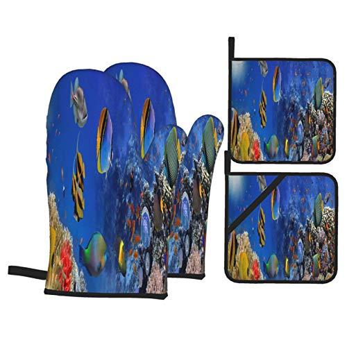 Juego de 4 Guantes y Porta ollas para Horno Resistentes al Calor Mar Corales Panorama Egipto Rojo para Hornear en la Cocina,microondas,Barbacoa