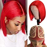 T Part Lace Bob Wigs Red Human Hair 10 Inch Silky Straight Lace Front Wig Red Human Hair 13x1x4 Lace Front Bob Wigs 150% Density Pre Plucked with Baby Hair Brazilian Virgin Human Hair Red Bob Wigs