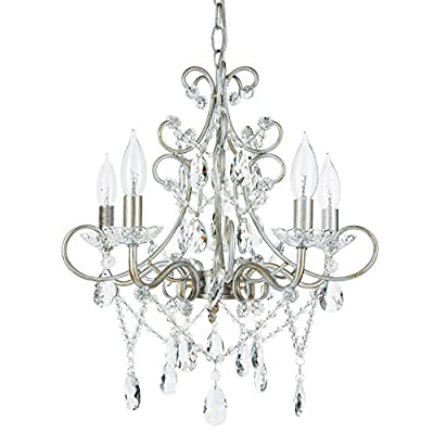 """Madeleine Collection"" Crystal Swag Chandelier, 5 lights, Authentic Glass Pendant Lighting, Vintage Antique"
