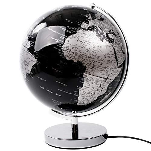 ITS Interior Globus 31x30xH38cm mit LED-Beleuchtung, Silber/Schwarz, in englischer Sprache, Tischglobus Tischlampe Tischleuchte Weltkugel beleuchtet