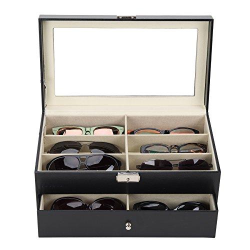 UROK Caja para Gafas con 12 Estuches Estuche de Organizadora de Colección de Joyas Organizador para Gafas de Sol Caja de Gafas de Sol para Mujeres y Hombres