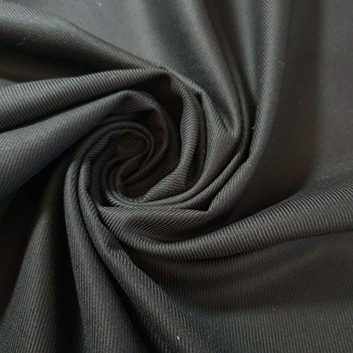 5 Meter Plain Thick 100% Cotton Drill Workwear Twill Fabric Superior Quality 150 cm Wide (Black)