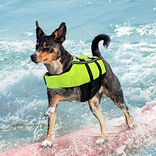 NAMSAN Hundeschwimmwesten Schwimmweste für Hund Tragbar Aufblasbar Rettungswesten für Kleine/Mitte/Groß Hunde, Grün-M