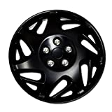 TuningPros WC-15-2007J-B 15-Inches Pop On Type Improved Hubcaps Wheel Skin Cover Matte Black Set of 4
