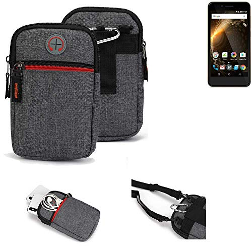 K-S-Trade® Gürtel-Tasche Für Allview P6 Energy Mini Handy-Tasche Holster Schutz-hülle Grau Zusatzfächer 1x