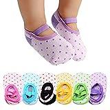 Toddler Ballet Socks with Grip 6 Pairs , Non-skid Slipper Socks for Kids, Machine-washable Toddler Grip Socks and Baby Socks for 9-32 Months