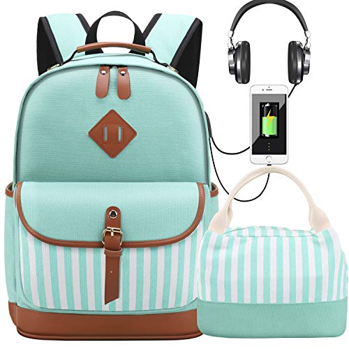 Canvas School Backpacks with Lunch Bag Women Laptop Bags with USB Charg Port