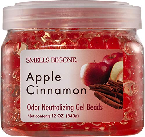 SMELLS BEGONE Odor Eliminator Gel Beads - Air Freshener - Eliminates Odor in Bathrooms, Cars, Boats, RVs and Pet Areas - Made with Essential Oils - Apple Cinnamon Scent (12 OZ)