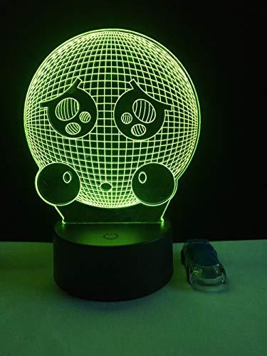 3D Cartoon Emoji Optische Illusions-Lampen, 7 Farbwechsel berühren Tabelle Schreibtisch-Nachtlicht mit USB-Kabel Fernbedienung Für Schlafzimmer Home Decoration