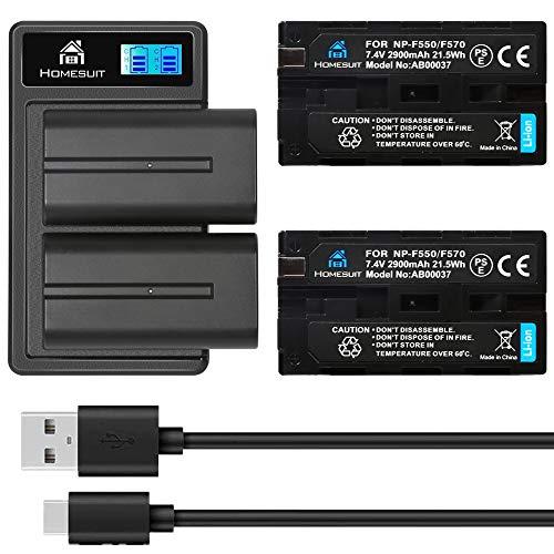 Homesuit NP-F550 Akku und USB LCD Dual Ladegerät Kit für Sony NP F970, F960, F770, F750, F570, F550, F530, F330, CCD-SC55, TR516, TR716, TR818, TR910, TR917, TR940