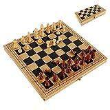internationales schach LMH Ludo Folding Schach Set Holzbrett Backgammon Checkers Reisespiele Geburtstagsgeschenk für Kinder Unterhaltung Spielzeug ohne magnetische Ludo magnetisches