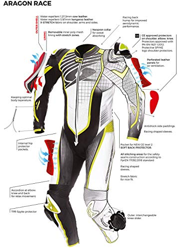 Spyke Tuta pelle intera mod. Aragon Race black white fluo red (52)