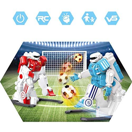 deAO 2.4GHz Ferngesteuerte Fussball Roboter mit Fernbedienung und tollem Zubehör wie Torpfosten und Hindernissen