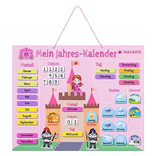 Navaris Kalender Tafel für Kinder - Lerntafel Jahreszeiten Uhr - Magnet Spiel Lernuhr - Kinderkalender Jahreskalender magnetisch - Prinzessin deutsch