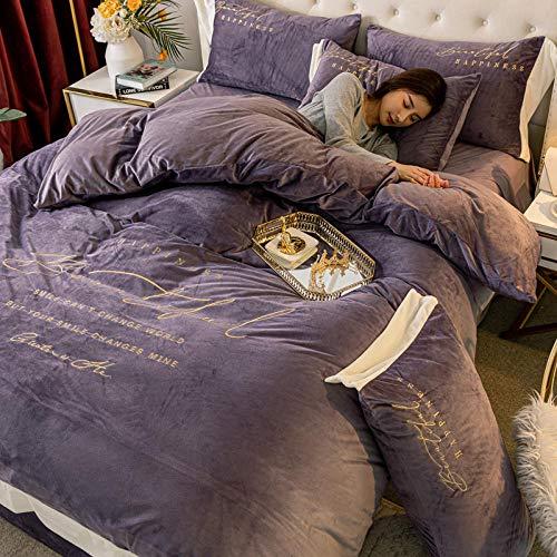 con funda de edredón,Juego de cama de cristal grueso más terciopelo de invierno, sábana de edredón adecuada para una sola funda de edredón king-deep_purple_Quilt_cover: _150cm * 200cm (3 piezas) _
