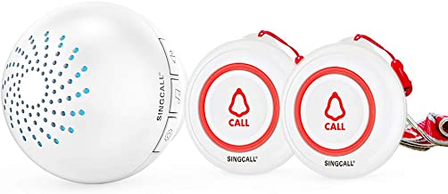 SINGCALL Wireless Caregiver Pager Call System 2 SOS Call Buttons/Transmitters 1 Receiver Nurse Calling Alert Patient Help ...