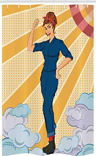 ABAKUHAUS feminist Douchegordijn, Vrouw Die Fist, voor Douchecabine Stoffen Badkamer Decoratie Set met Ophangringen, 120 x 180 cm, Veelkleurig