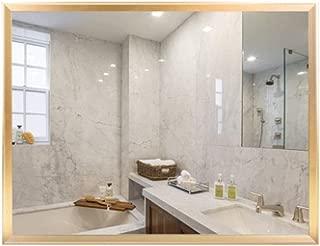 浴室用化粧鏡 HDウォールミラー モダンミニマリストバスルームミラー アルミバスルームミラー 壁掛けウォッシュミラー 女性ラブビューティーギフト (Color : Gold, Size : 60x80cm)