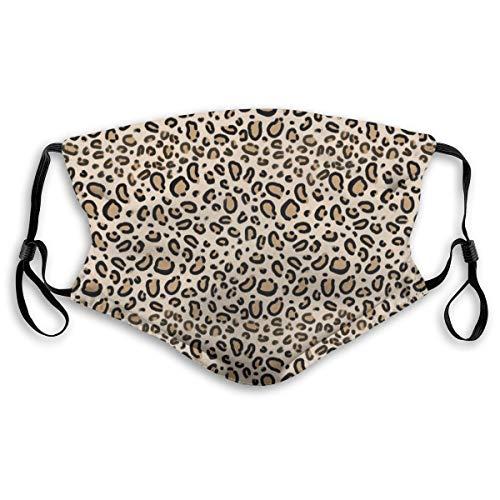 Unisex Gesichtsabdeckung, verstellbar, Anti-Staub-Mundschutz, waschbar, wiederverwendbar, für Radfahren, Camping, Reisen, Leopard Print Tan Natural Animal Cheetah Safari