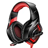 RUNMUS Gaming Headset PS4 Headset with 7.1 Surround Sound, Xbox One Headset with Noise Canceling Mic & RGB Light, Compatible w/ PS4, Xbox One(Adapter Not Included), PC Laptop Sony PSP, Red