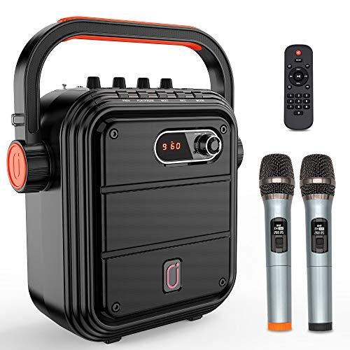 JYX ワイヤレスマイク スピーカーセット 拡声器 Bluetooth 5.0対応 低音強化機能搭載 充電式 ポータブル ホームパーティー、カラオケ、街頭スピーチ、会議 、学校行事、セミナー、室外、防災、路上ライブ、イベントなどに適用