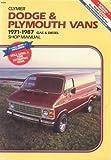 Dodge and Plymouth Caravan Mini Ram Van Voyager 1984 1987 Shop Manual