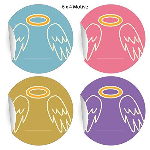 24 vrolijke oser haasstickers op Vichy ruit, lichtblauw, matte papieren stickers voor geschenken, etiketten voor tafeldecoratie, pakketten, brieven en meer, diameter 45 mm 5 x 24 stickers