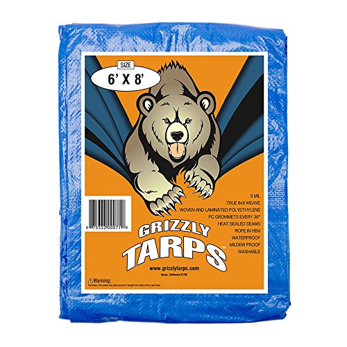 B-Air Grizzly Tarps - Large Multi-Purpose, Waterproof, Heavy Duty Poly Tarp Cover - 5 Mil Thick (Blue - 6 x 8 Feet)