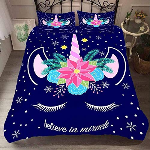 WGLG Double Bed Duvet Sets, Kids Bedding Set Duvet Cover Set And Pillowcase Home Textiles Unicorn Bedding Set Cartoon Pattern Eu Single Multi