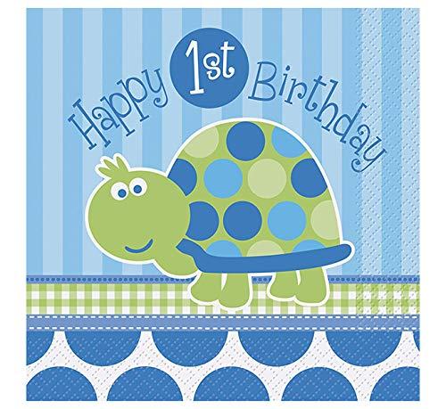 Turtle 1st Birthday Party Napkins, 16ct