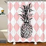 Cortina de ducha de tela de piña, para niños y niñas, acuarela, piña fresca, rosa, accesorios impermeables con ganchos, cortinas geométricas, 72 x 72 pulgadas