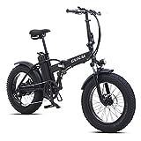 GUNAI Bicicleta Eléctrica 500W 20 Pulgadas 48V 15Ah Neumático Gordo Ciclismo de Playa Bicicleta de Montaña MTB Ebike(Negro)