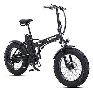 GUNAI 500W Elektrofahrräder,20 Zoll Faltbare Mountain Snow E-Bike Rennrad mit Scheibenbremsen 7 Geschwindigkeit (Schwarz)