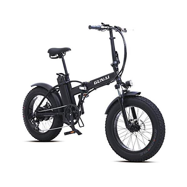 51KcQ fukTL. SS600  - GUNAI 500W Elektrofahrräder,20 Zoll Faltbare Mountain Snow E-Bike Rennrad mit Scheibenbremsen 7 Geschwindigkeit (Schwarz)