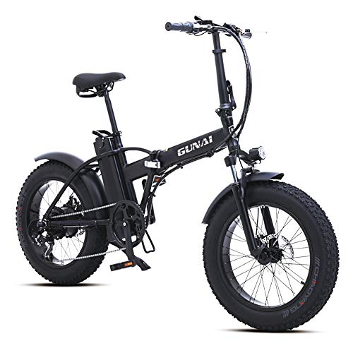 GUNAI 20 inch Electric Snow Bike 500W Folding Mountain Bike with Rear Seat with 48V 15AH Lithium Battery and Disc Brake (Black)