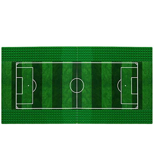 OviTop Bauplatte für Lego Fußball, 2 Stück Classic Bauplatten für Lego Fußballplatz Grün 25,4 x 25,4 cm