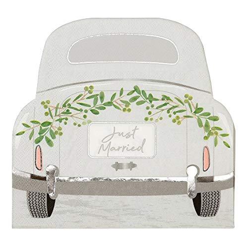 Partyservietten Botanical Hochzeitsauto 16er Set I Hochzeit Sektempfang Papier-Servietten