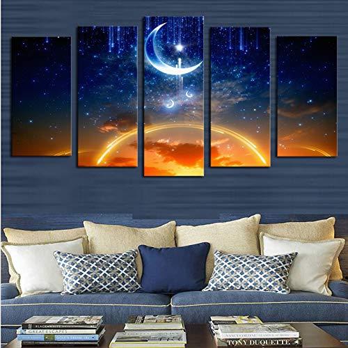 ganlanshu Rahmenlose Malerei Hochwertige schöne Mond Himmel Stimmung Nacht Landschaft Landschaft Leinwand Malerei 5 WandbilderZGQ4165 30x40cmx2, 30x60cmx2, 30x80cmx1