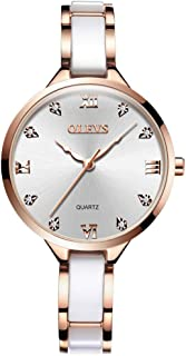 OLEVS Watches for Women Fashion Womans Watch White Ceramic and Stainless Steel Strap Rose Gold Watches for Women Waterproof Rome Big dial Womans Watch Luxury Female Wrist Watches Ladies Watch