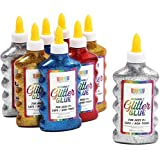 Bottiglie di colla glitterate metallizzate, 4 colori arcobaleno (6 oz, 8 pezzi)