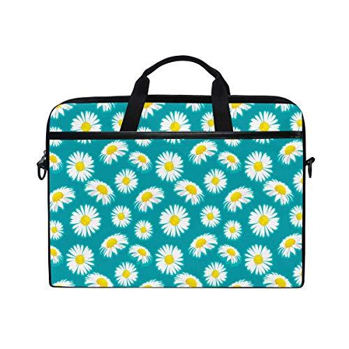 Laptop Sleeve Case,Laptop Bag,Blue White Dasiy Flower Pattern Water Briefcase Messenger Notebook Computer Bag with Shoulder Strap Handle,29×40 CM/15.6 Inch