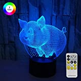 Novelty 3D Pig Lamp for Kids Optical Illusion Night Light Bedside Lamp 7 Colors Changing with Remote Control Cool Birthday Gifts for Boys Girls Kids Baby
