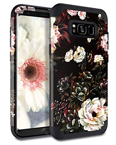 Lontect Compatible Galaxy S8 Case Floral 3 in 1 Heavy Duty Hybrid Sturdy High Impact Shockproof Protective Cover Case for Samsung Galaxy S8, Black/White Flower