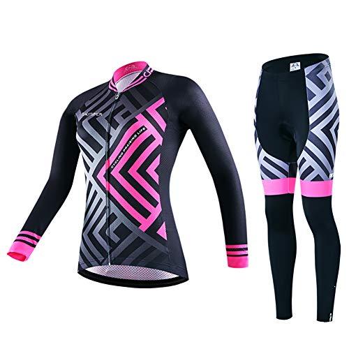 SKYSPER Abbigliamento Ciclismo Donna, Completo Bici Maniche Lunghe con Pantaloni Ciclismo Lunghi Traspirante per MTB Bici da Corsa da Strada