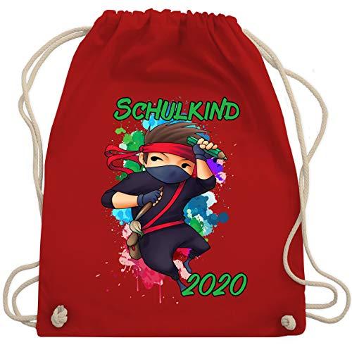 Shirtracer Einschulung und Schulanfang - Cooler Ninja Junge 2020 - Unisize - Rot - turnbeutel junge einschulung - WM110 - Turnbeutel und Stoffbeutel aus Baumwolle